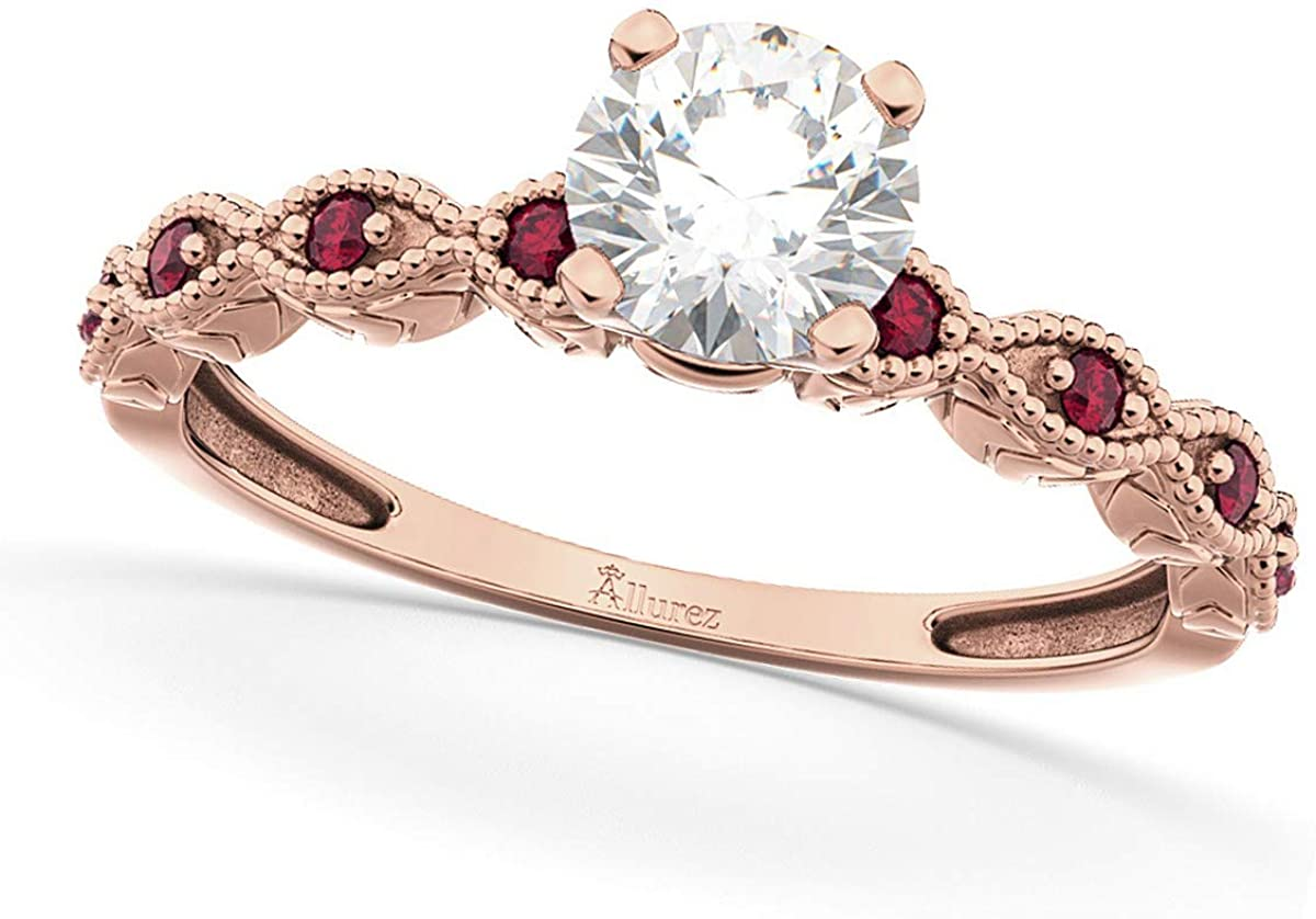 Ladies Vintage Diamond and Ruby Engagement Ring Marquise Style 14k Rose Gold 0.50ct