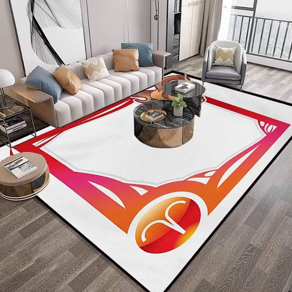 Zodiac Aries Large Area Rugs 6X9 Feet,The First Sign of The Zodiac Frame Design with Cartoon Animal Icon and Symbol,Washable Floor Carpet with Lock-Edge & Non-Slip Bottom,Multicolor