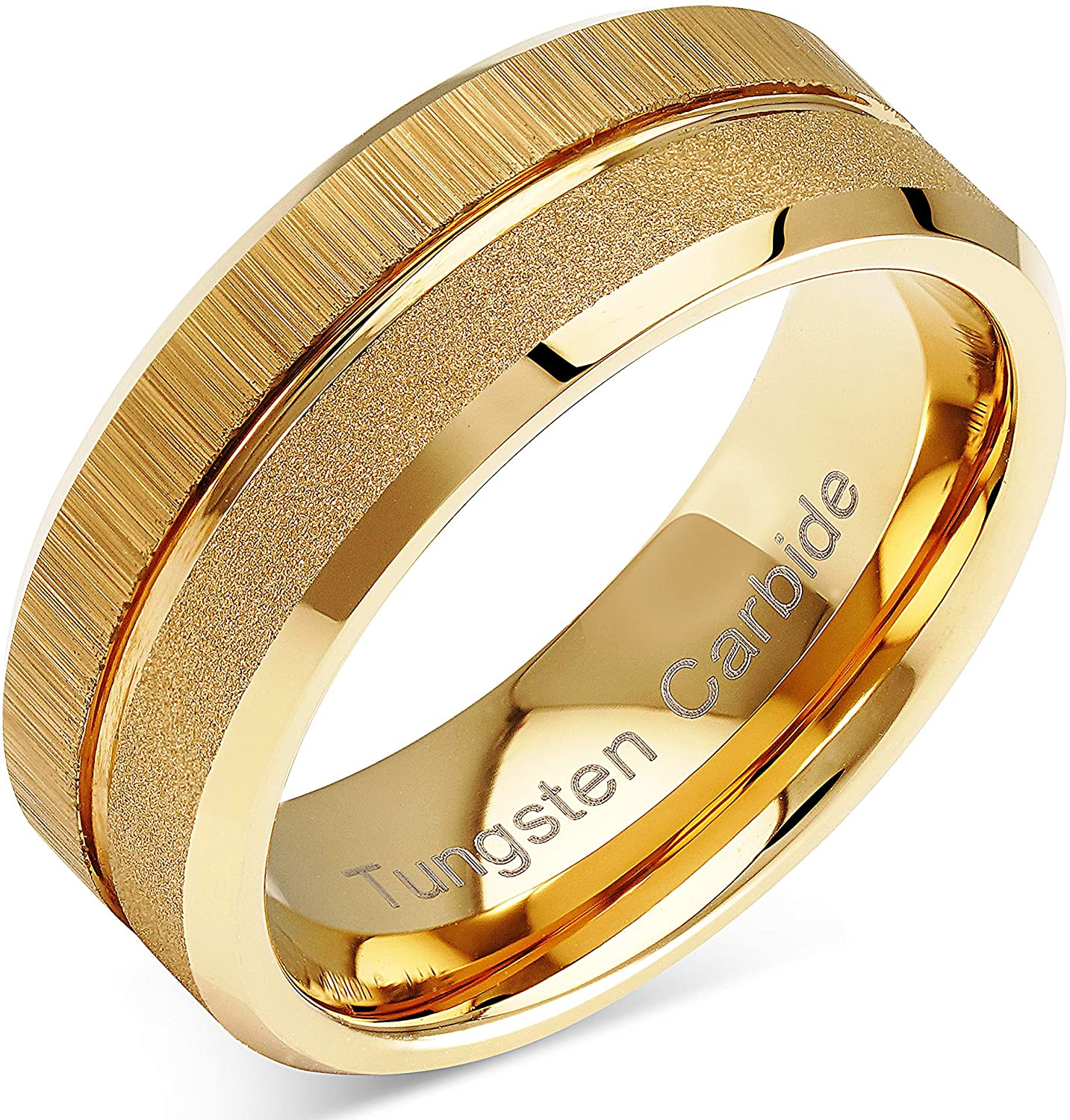 100S JEWELRY Tungsten Rings For Men Wedding Bands Gold Sandblast Brushed Grooved Size 6-16