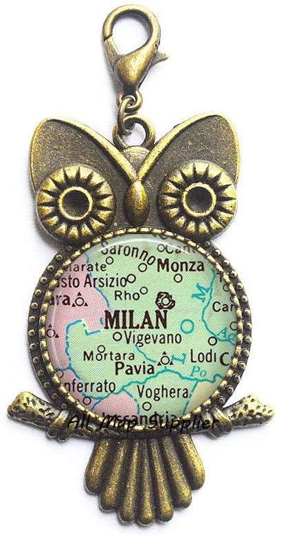 AllMapsupplier Fashion Owl Zipper Pull,Milan map Owl Zipper Pull,Milan map Lobster Clasp,Milan Owl Zipper Pull,Milan Lobster Clasp,Milan Italy Owl Zipper Pull,map Jewelry,A0158
