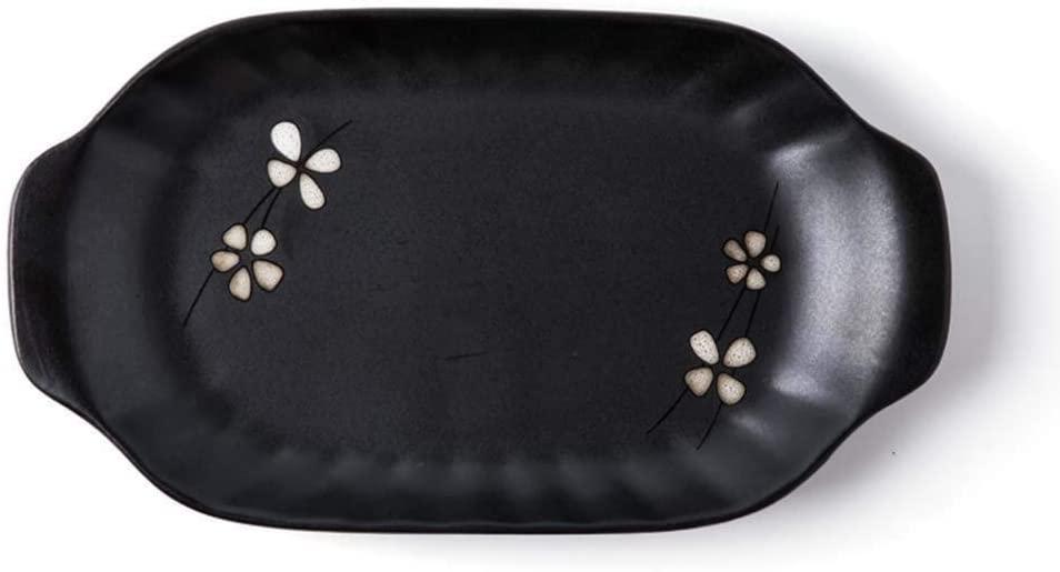 HTLLT Dinner Plate Wobble Plate Home Oval Plate, Ceramics Steamed Fish Plate, Creative Sushi Plate, Home Dinner Plate, Oval Small Fish Plate, Home Dinner Plate Rectangular Round