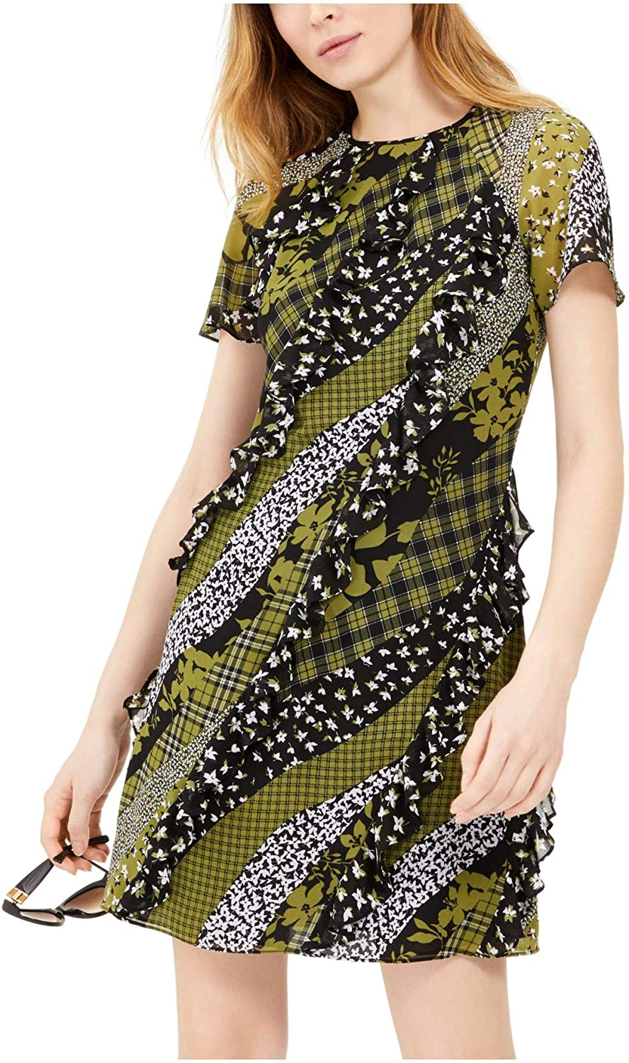 Michael Kors Womens Green Ruffled Printed Short Sleeve Jewel Neck Short Fit + Flare Dress Size 4