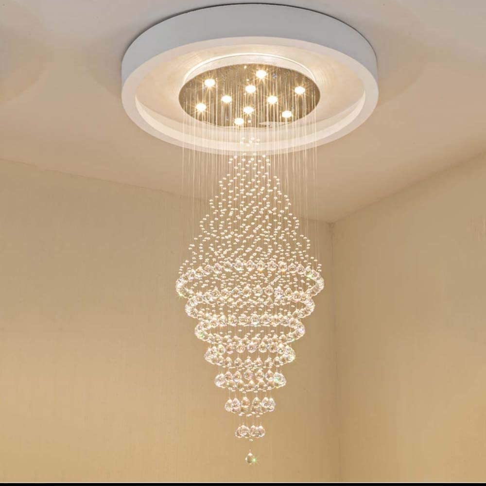 Zhengtufuzhuang Crystal Chandelier, Living Room Chandelier Round Store Hollow Villa Wine Double-Decorated Building Stairwell Long Chandelier Long Life