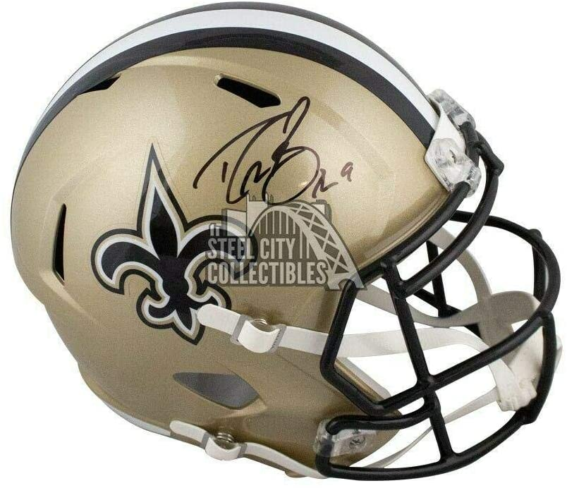 Drew Brees Autographed New Orleans Saints Full-Size Football Helmet - BAS COA - Autographed NFL Helmets