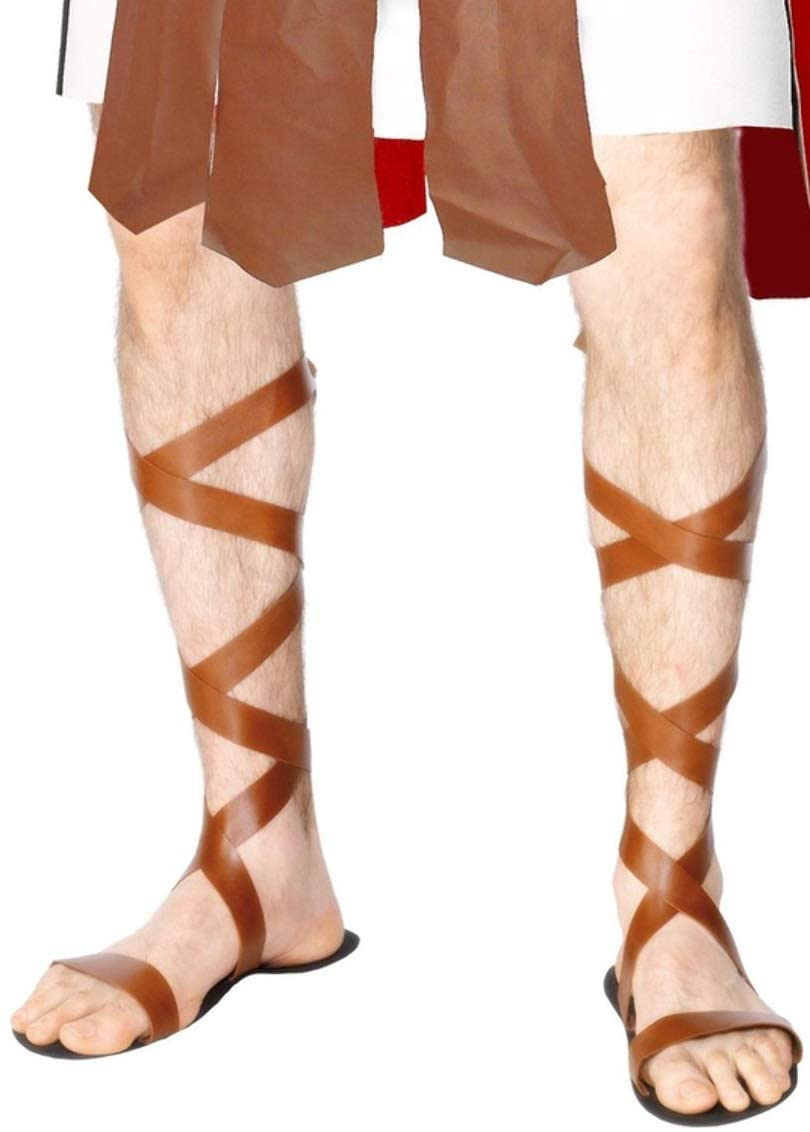 Mens Ladies Brown Roman Gladiator Spartan Sandals Fancy Dress Costume Outfit Shoes Accessory