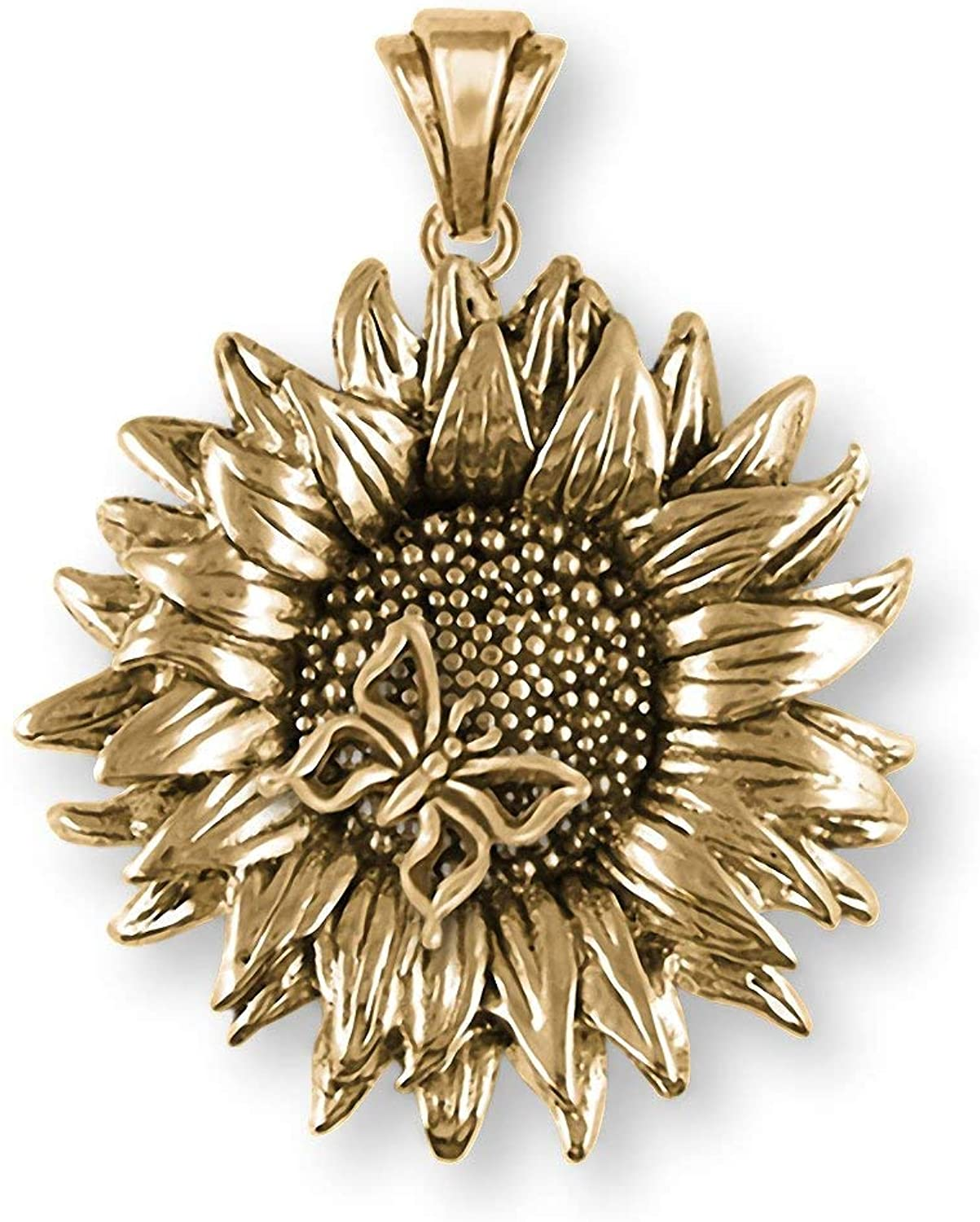 Sunflower Jewelry 14k Yellow Gold Handmade Sunflower With Butterfly Pendant SFTX6-BUTPG