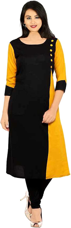 Lakkar Haveli Womens Long Dress Black & Yellow Color Wedding Wear Casual Tunic Cotton Maxi Dress Plus Size