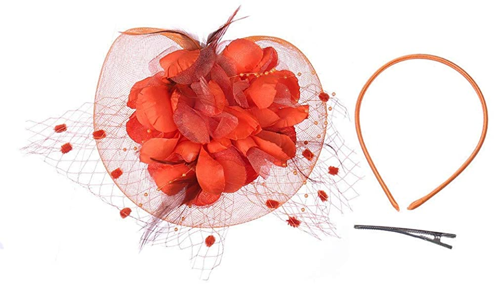 Beppter Wedding Women Mesh Headband Feather Big Flowers Hair Band Tea Party Girls Women Wedding Bridal Fascinator Hat