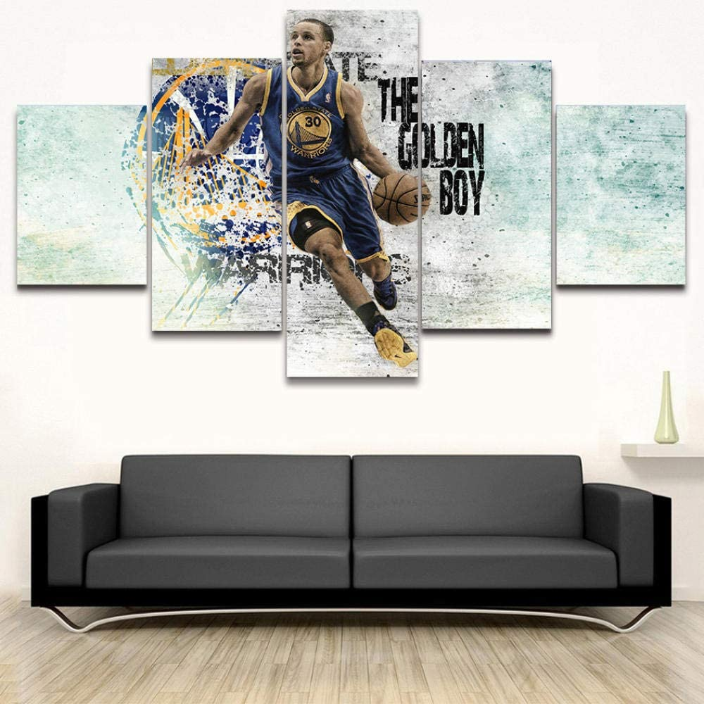 YINGYING Stephen Curry Poster Picture Canvas Decorativos Painting HD Prints Basketball Kid Room 5 Piece Canvas Art Pop Wall Decor Pictures for Living Print Poster Canvas