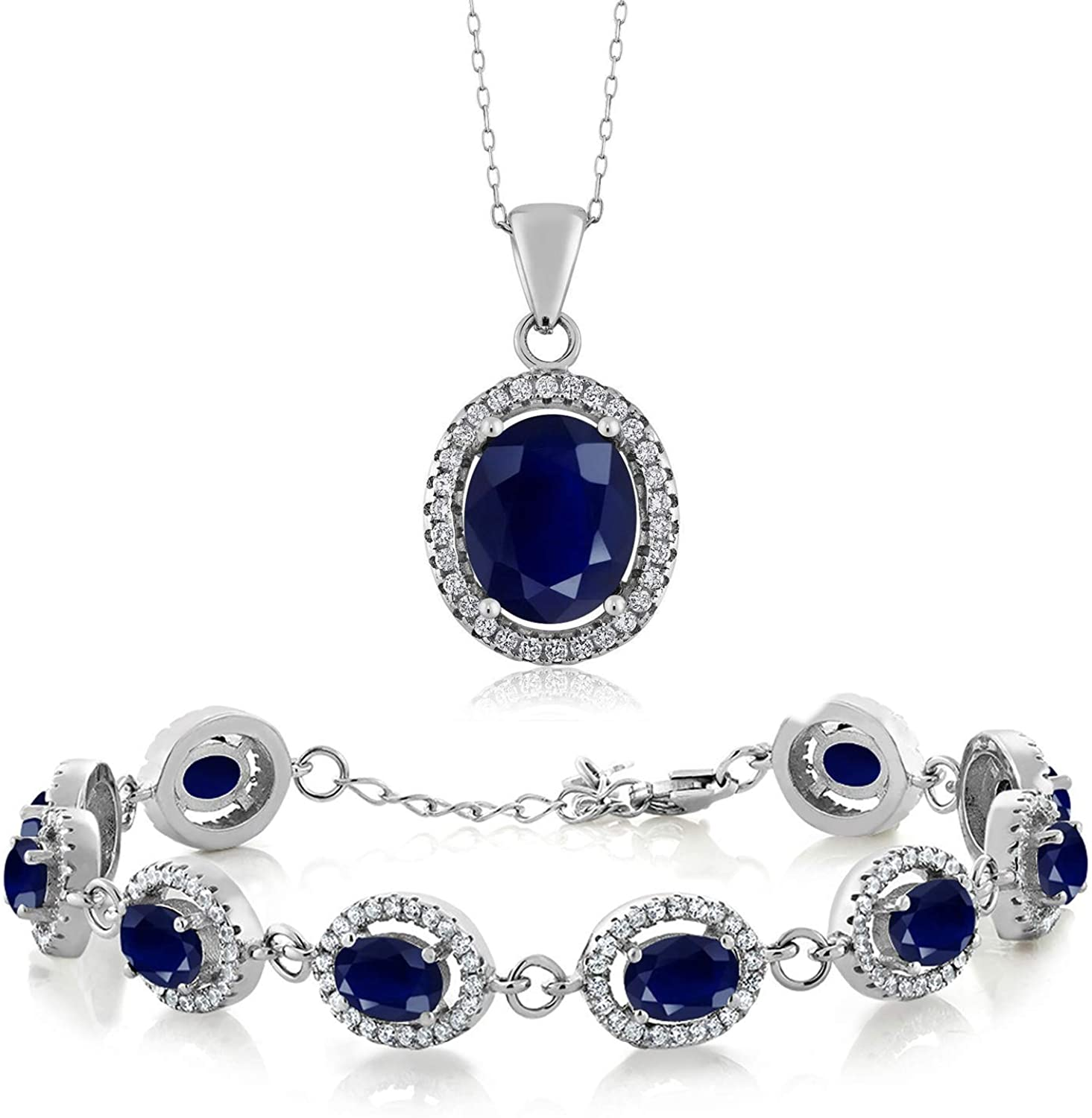 Gem Stone King 925 Sterling Silver Oval Blue Sapphire Pendant and Bracelet Set Bundle For Women with 18 Inch Silver Chain