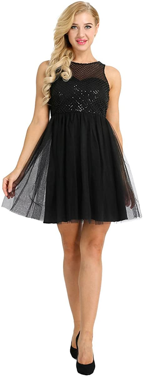 Freebily Women's A Line Tulle Short Dress Cocktail Wedding Prom Bridesmaid Sweet Party Swing