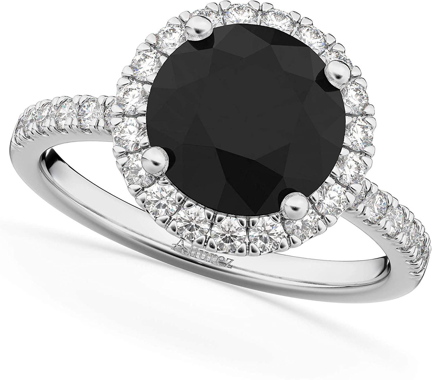(2.50ct) 18k White Gold Round Halo Black Diamond and Diamond Accented Engagement Ring