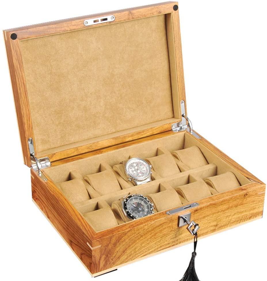 FCSFSF Large Watch Box for Men/Women - 10 Watches Slots Luxury Jewelry Organizer Wooden Watch Display Case Storage Glass Top, Lockable Metal Lock