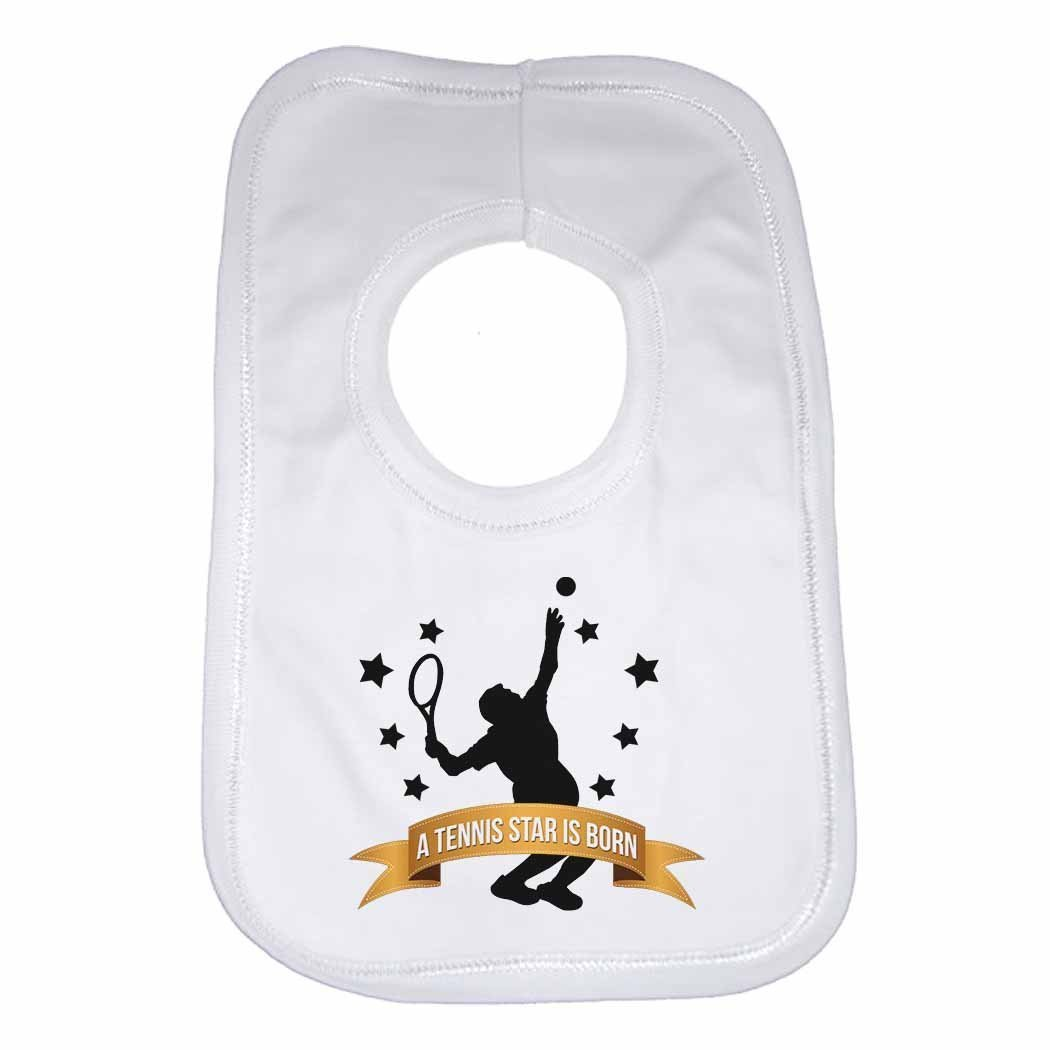 A Tennis Star is Born - Personalised Baby, Toddler Bib for Boys, Girls, Newborn Gifts - White