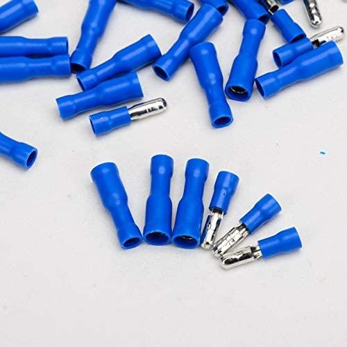 Davitu Electrical Equipments Supplies - 100pcs/set Electrical Crimp Terminal Connector Male Blue Female Bullet Insulated Wire Crimp Terminals Connectors
