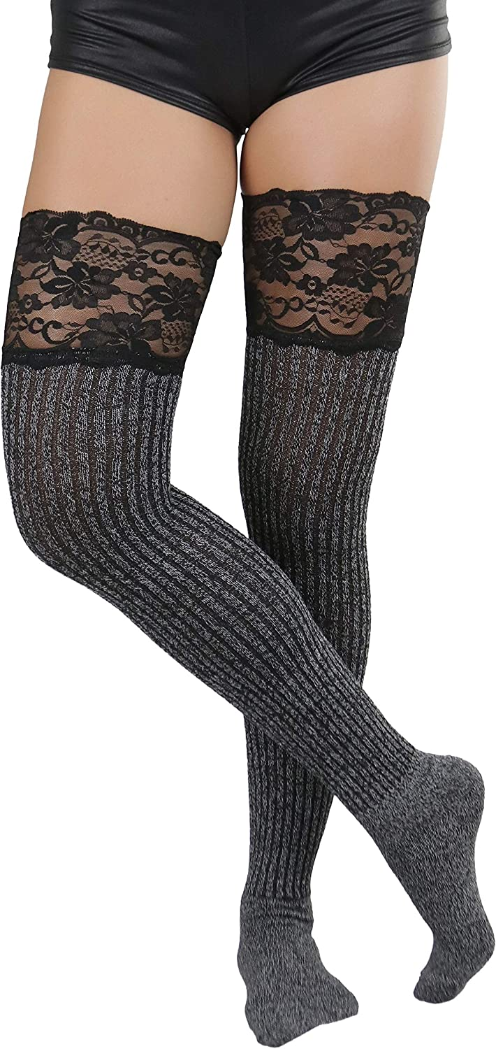ToBeInStyle Womens Charming Wide Lace Top and Ribbed Slouch Knit Over Knee Sock