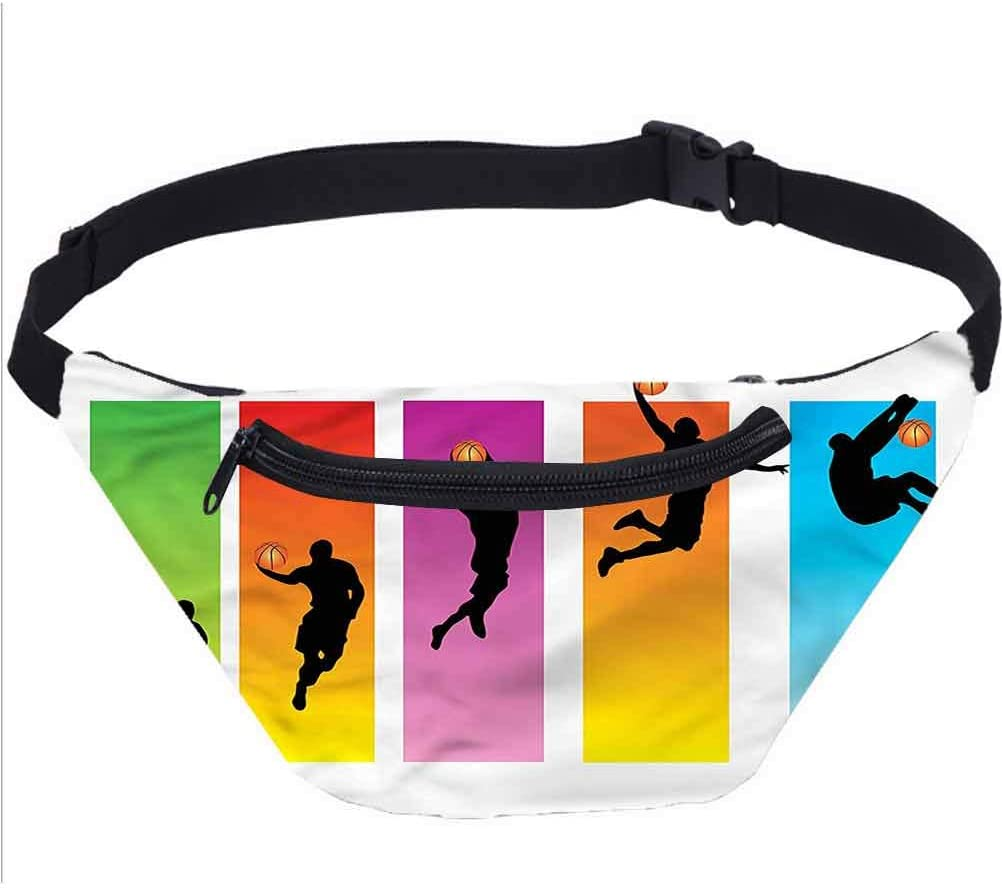Sports Travel Fanny Bag,Basketball Slam Dunk Move Waist Pack for Women Men Kids