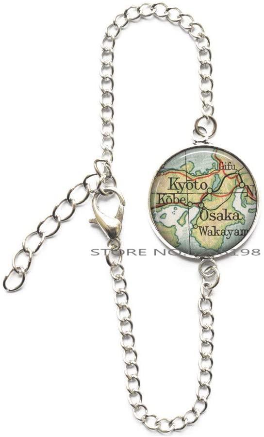 Kyoto map Bracelet Osaka map Jewelry Kyoto Bracelet Osaka Japan Bracelet map Bangle Travel Jewelry Gift for Traveler Bracelet,N305
