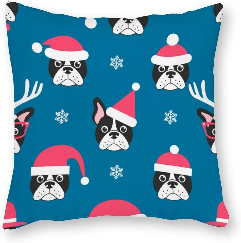 Promini Canvas Pillowcase Double French Bulldogs with Santa color7 Standard Size Square Throw Pillow Cases Cushions Covers color1 40x40cm(16 inch)