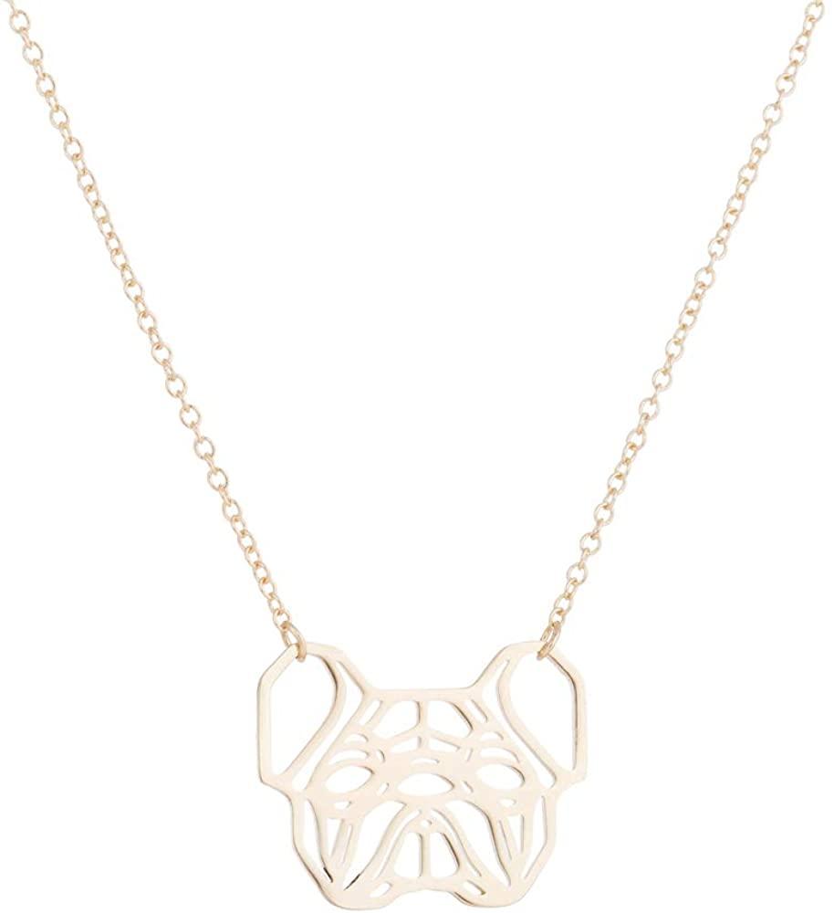 Daisies French Bulldog Necklace Geometric Origami Dog Unique Pendants Necklaces Women Animal Jewelry
