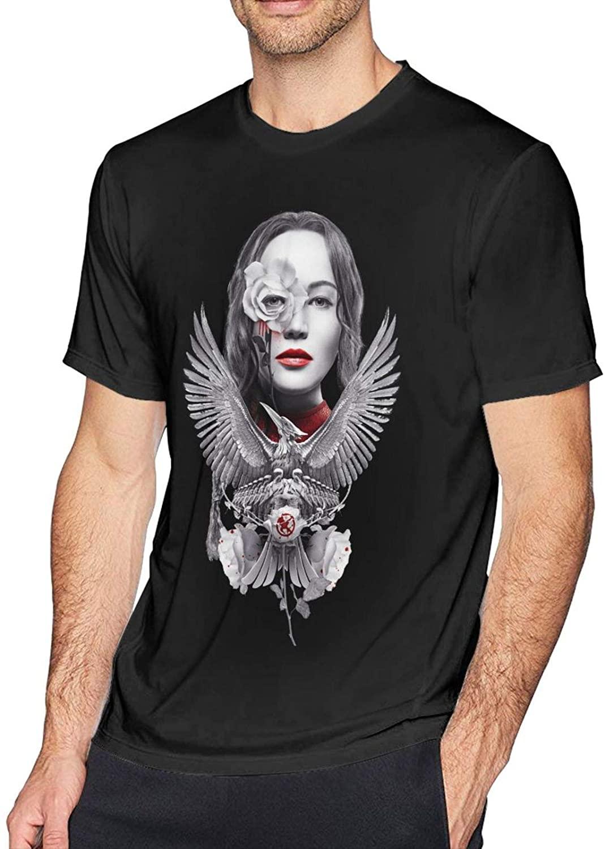 The Hunger Games Fashion Cotton Mens Short Sleeve Printed T-Shirt Black