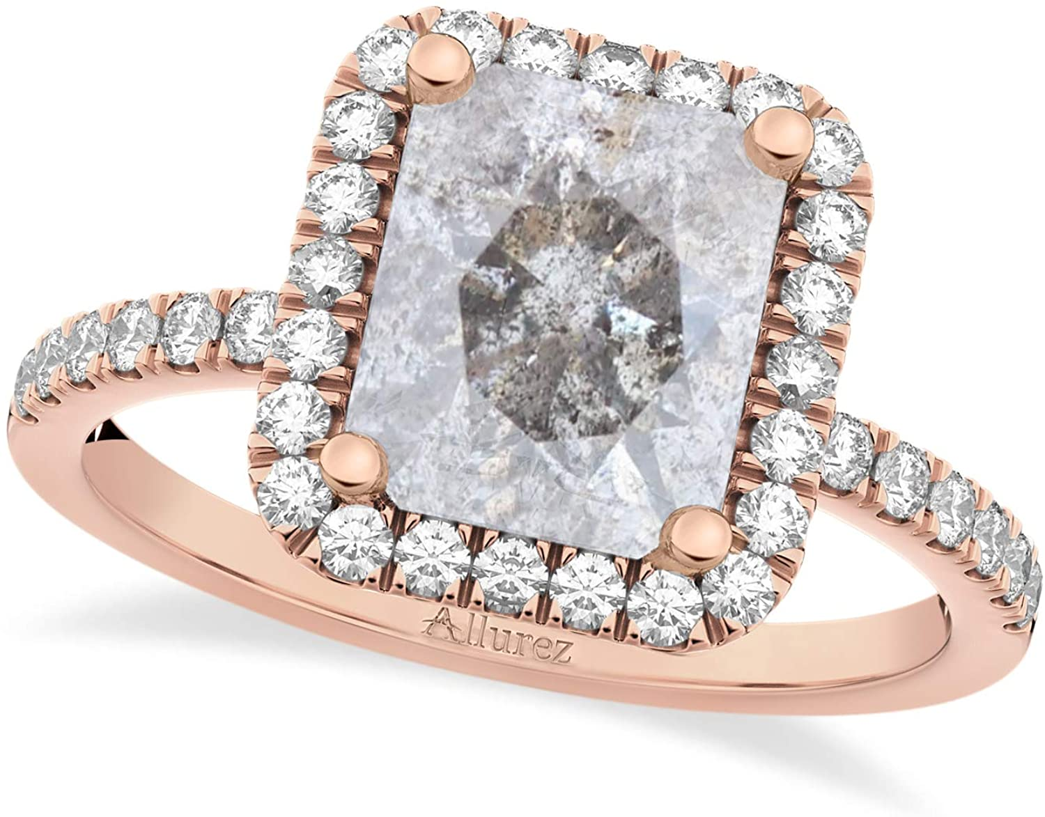 (3.32 ct) 14k Rose Gold Salt and Pepper and White Diamond Engagement Ring