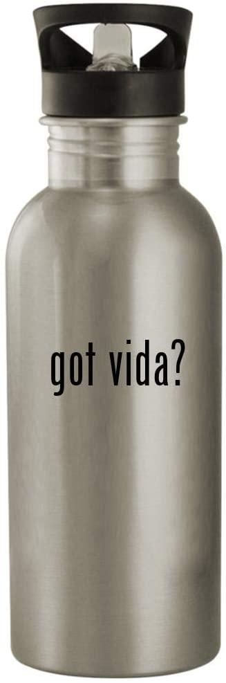 got vida? - 20oz Stainless Steel Water Bottle, Silver