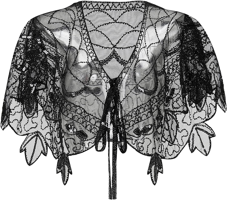 BABEYOND 1920s Shawl Wraps Sequin Beaded Evening Cape Bridal Shawl Bolero Flapper Cover Up