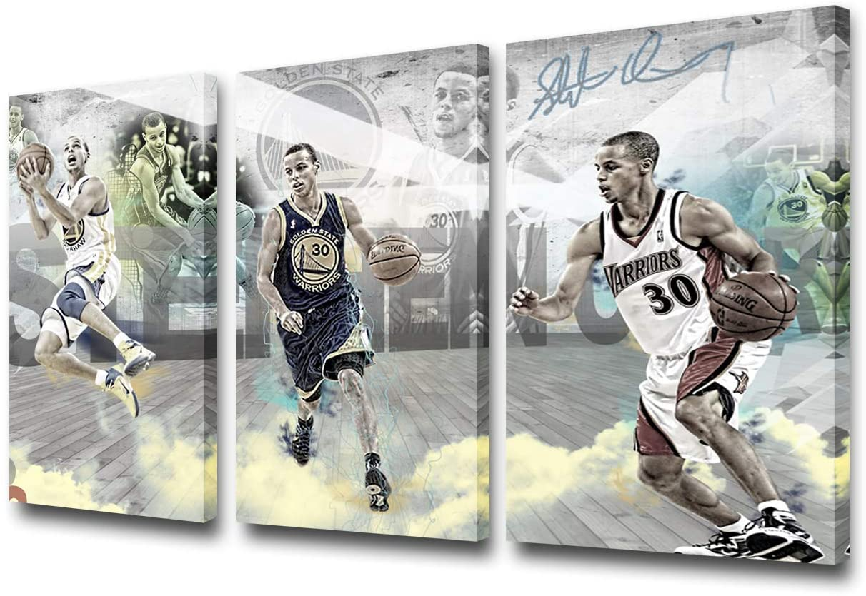 Golden State Warriors Decor Printed on Canvas United States Basketball Pictures Stephen Curry Wall Art Printed on Canvas Paintings NBA Sports Artwork for House Framed Ready to Hang - 12 x 24 inch x 3