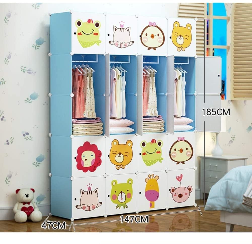 XHCP Portable Resin Closet Wardrobe, Closet Wardrobe Organizer Closet Dresser Cube Storage Rack with Hanging Bar for Children Kids Blue 147x47x185cm (58x19x73inch)