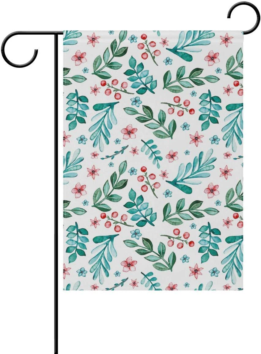Lplpol Garden Flag Watercolor Flowers Leaves Decorative Double Sided Garden Flag for All Seasons and Holidays 12x18 inches