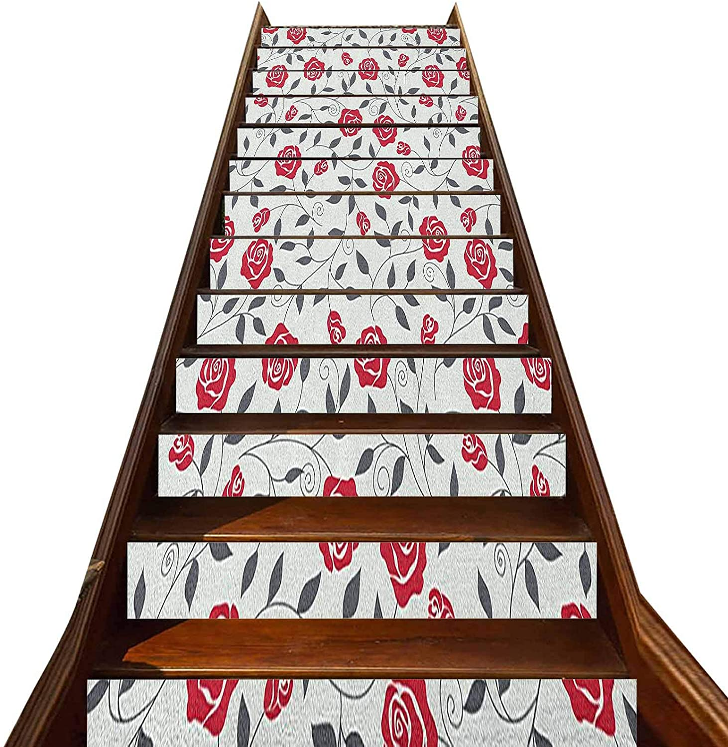 3D Rose Stair Stickers Decals-13Pcs/Set,Abstract Silhouettes Stylized Gardening Bedding Plants Curly Stems Swirls Pattern Staircase Stickers Stairway Decal Wallpaper,for Stair Sticker Home Decor