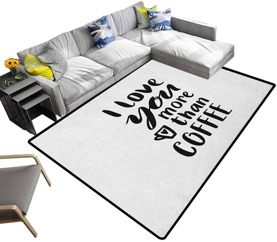 Home Decor Rug I Love You More, Super Soft & Cozy Rugs Humorous Quote of I Love You More Than Coffee with Hand Drawn Typography Sturdy, Skid-Proof Black White, 6.5 x 10 Feet