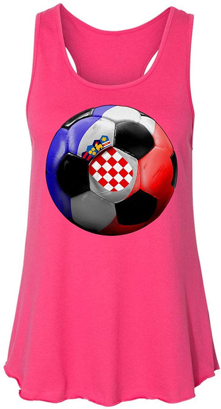 HARD EDGE DESIGN Ladies Croatia Soccer Racerback Tank Top, X-Large, Hot Pink