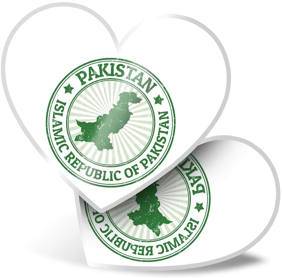 Awesome 2 x Heart Stickers 7.5 cm - Islamic Republic of Pakistan Travel Fun Decals for Laptops,Tablets,Luggage,Scrap Booking,Fridges,Cool Gift #4778