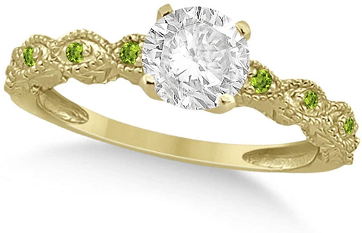Ladies Vintage Diamond and Peridot Engagement Ring Marquise Style 14k Yellow Gold 0.50ct