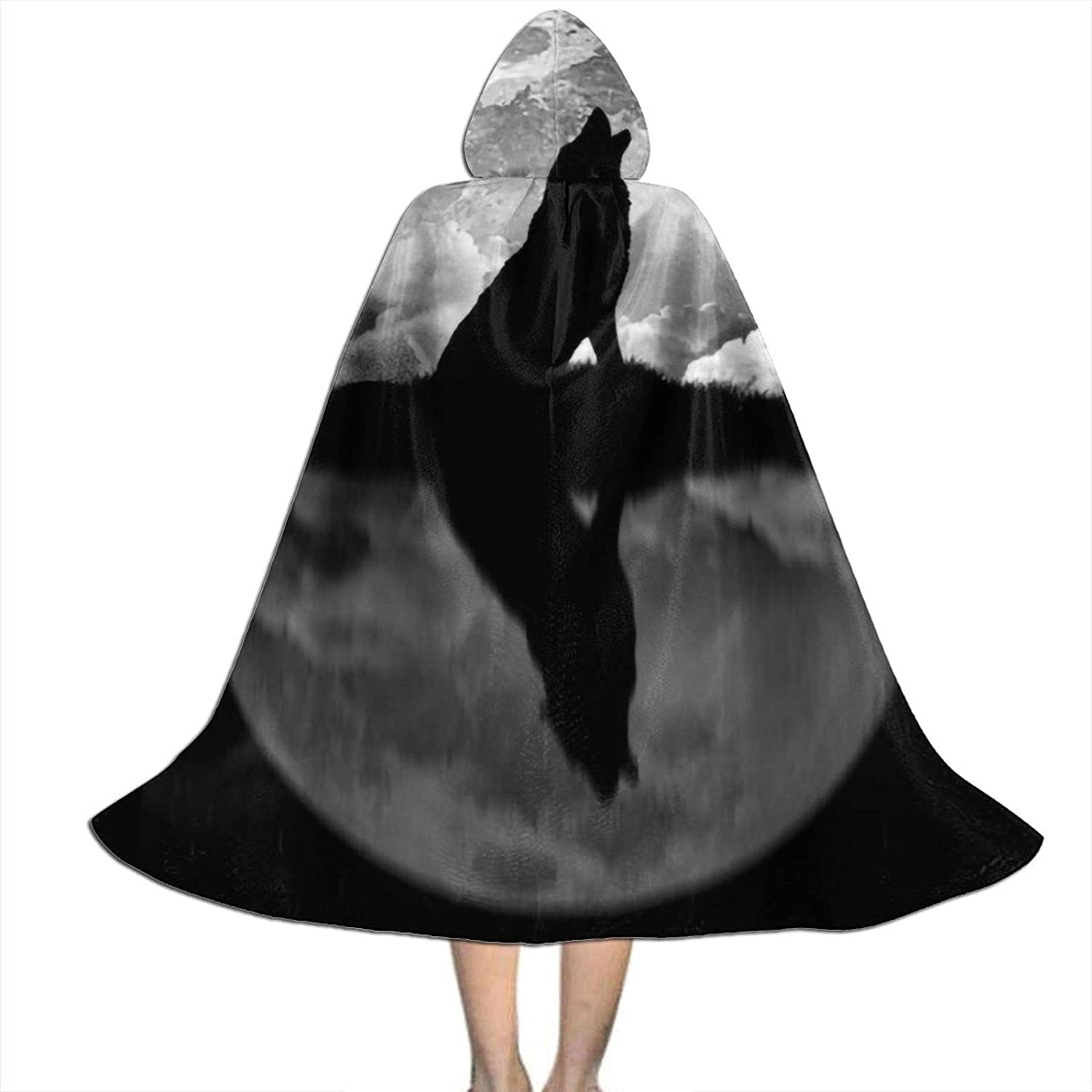 Unisex Wolf Howling at The Moon Kids Long Hooded Cloak Cape for Halloween Party Role Cosplay Costumes