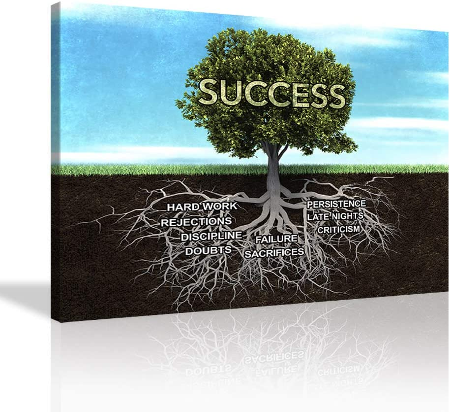 VIIVEI Success Tree Poster Inspirational Painting Wall Art Inspiring Inspirational Entrepreneur Quotes Print Poster Artwork Decor Framed for Home Office Classroom Framed Ready to Hang