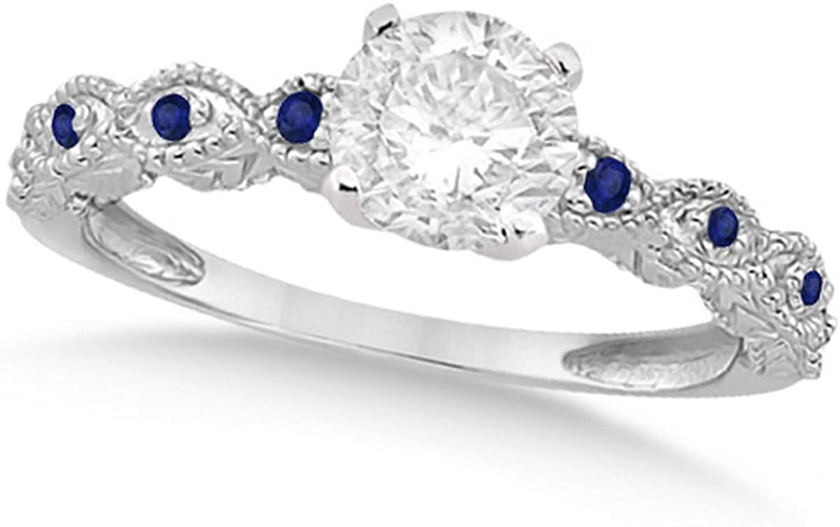 Ladies Vintage Diamond and Blue Sapphire Engagement Ring w/Marquise Style Shank 18k White Gold 1.50ct