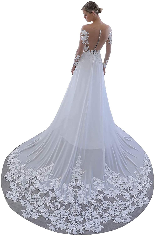 YnanLi Dress Women's A Line Long Boho Lace Chiffon Wedding Dresses for Bride V Neck Open Back Bridal Prom Gown White Size 12