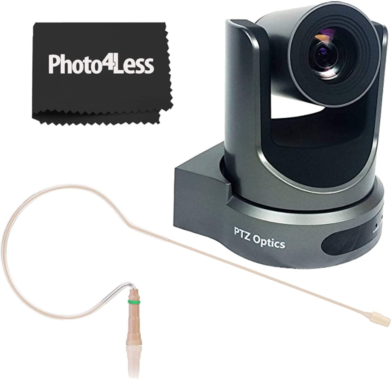 PTZOptics Grey 20x-SDI Gen2 1080p Resolution Live Streaming Camera+ Countryman E6 Earset- Event Streaming Bundle