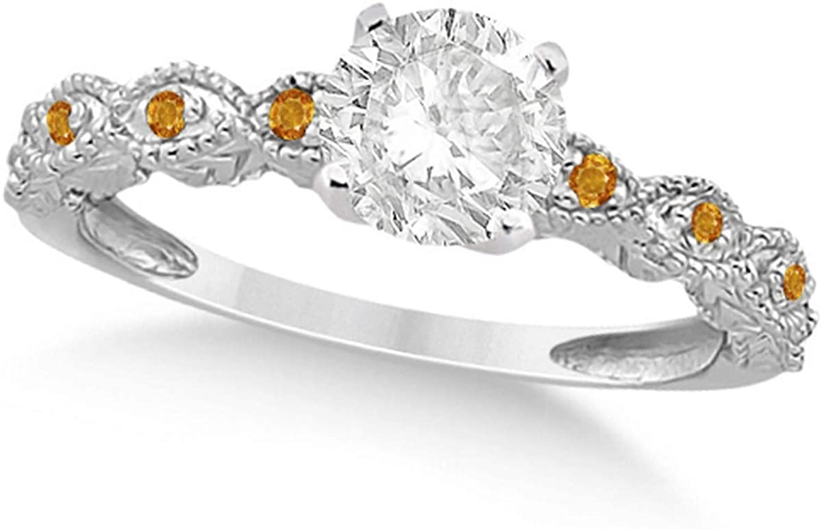 Ladies Vintage Diamond and Citrine Engagement Ring Marquise Style 18k White Gold 0.50ct