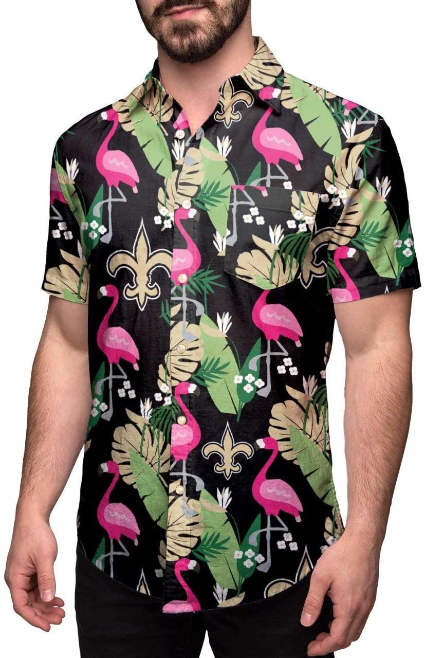 New Orleans Saints Hawaiian Floral Button Up NFL Shirt - XXL