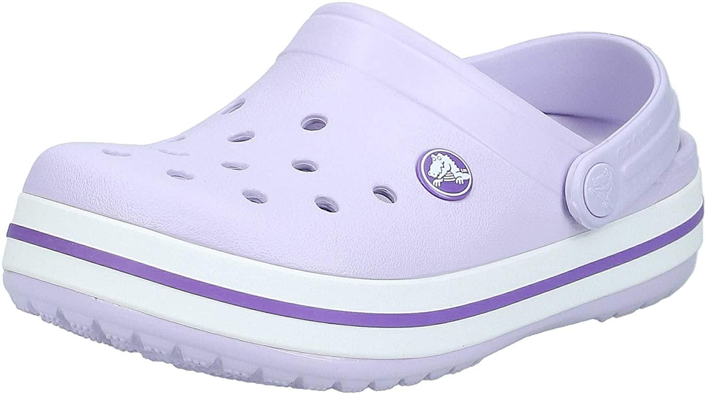 Crocs Kids' Crocband Clog | Slip On Shoes for Boys and Girls | Water Shoes, Lavender/Neon Purple, J1 US Little Kid