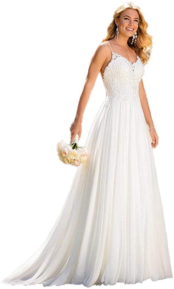 Wedding Dress for Bride 2020,Beach Vintage A Line Backless Boho Lace Summer Wedding Dresses Women Plus Size Wedding Dress
