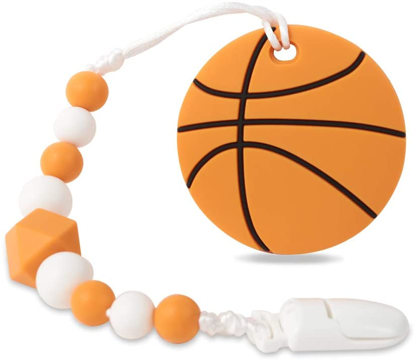 Baby Sport Teething Toys,BPA Free Food Grade Silicone Teether with Pacifier Clip,Highly Effective Pain Relief for Boy and Girl,Freezer Safe Teething Egg (Basketball)