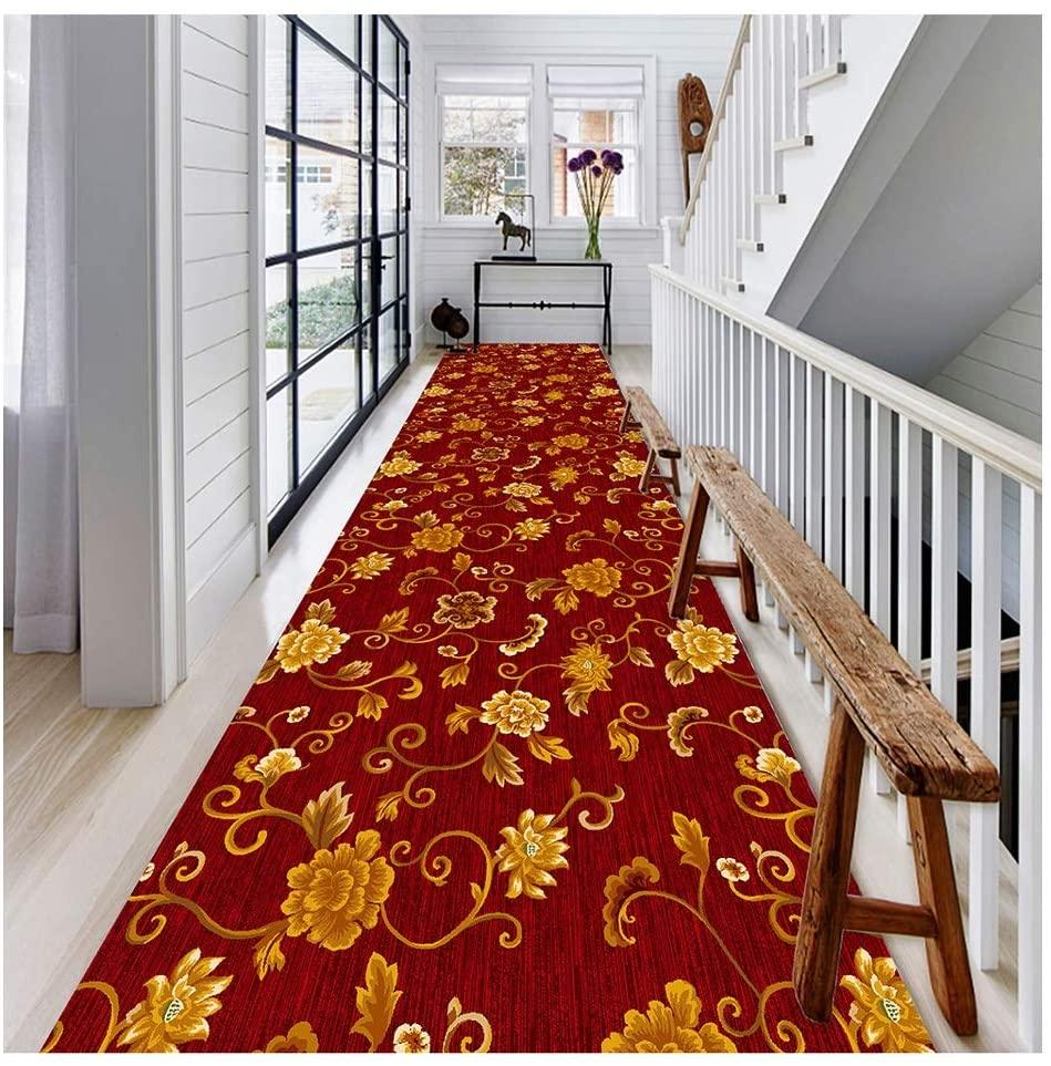QTT Hallway Runner Rugs Corridor Stair Carpet Dirt Stopper Mats with Non-Slip Back Customizable Cuttable Red TTaN (Color : A, Size : 1.4X7M)