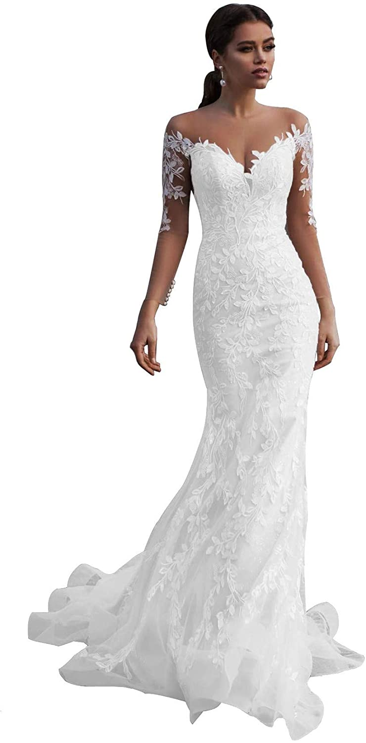 Plus Size Long Sleeve Sweetheart Mermaid Lace Appliques Wedding Dresses Open Back Bridal Prom Gown White 17W