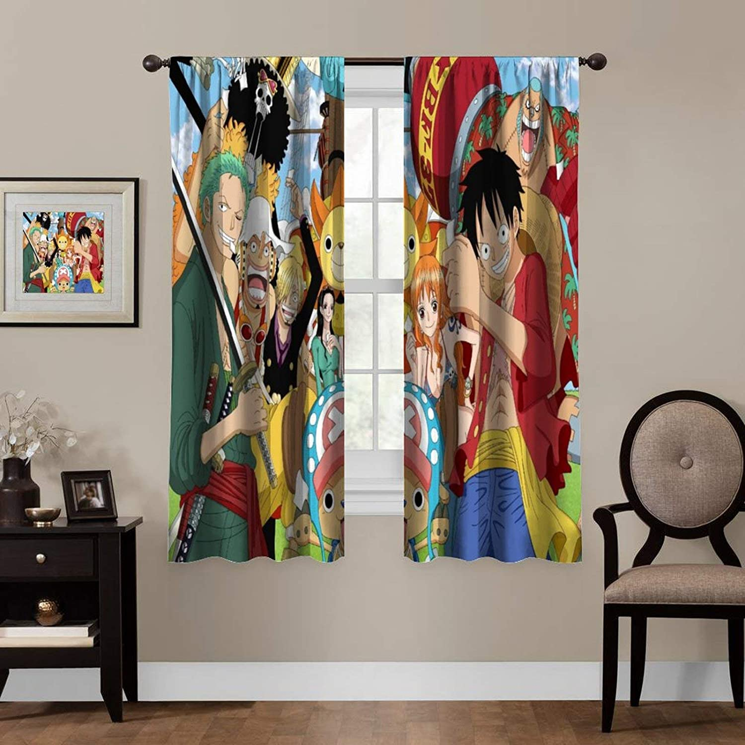 LCGGDB Anime Blackout Curtains,One Piece Luffy Robin Nami,Living Room Bedroom Window Drapes Panels Set of 2 with Rod Pocket,Soundproof Shade Curtains,for Boys and Girls Room Décor, 63x72 inches