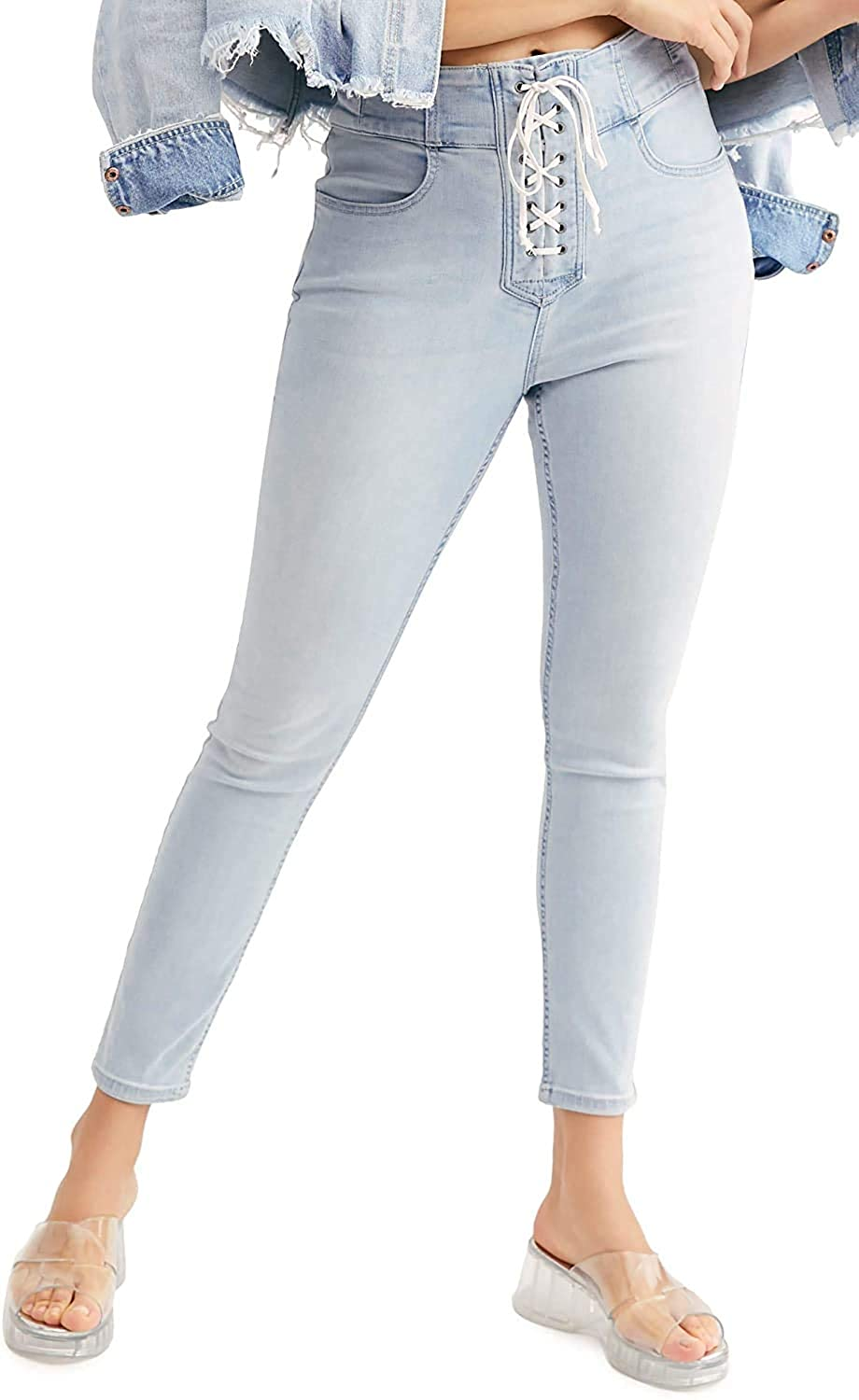 Free People Women's CRVY Lovers Knot High Waist Lace-Up Skinny Jeans in Light Blue Size 28